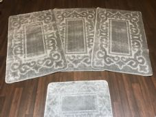 ROMANY WASHABLES TRAVELLER MATS SET NON SLIP SUPER THICK SILVER/GREY NEW DESIGN